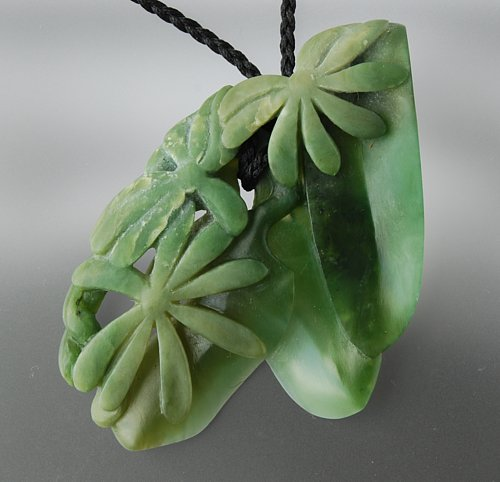 Contemporary new zealand jewellery by ben beattie clematis pounamu pendant 1200 mozeypictures Gallery